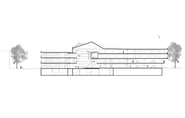 2 Longitudinal section Behnisch Architekten