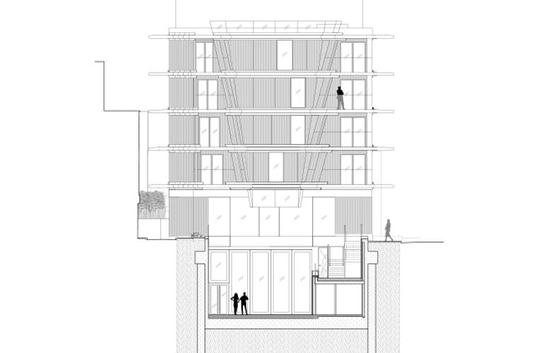 Nobu Hotel Courtyard Short Section R bron Ben Adams Architects