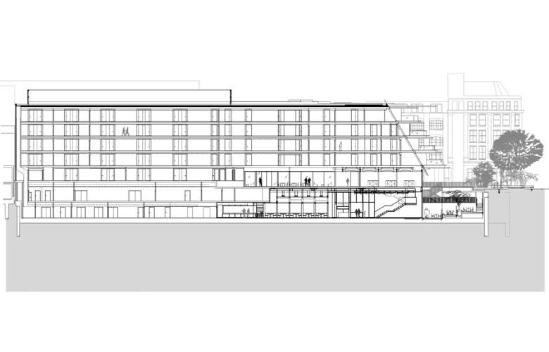 Nobu Hotel Long Section bron Ben Adams Architects