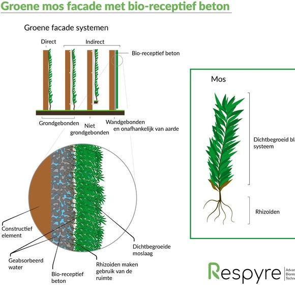 Schematische tekening bio receptieve facade Respyre